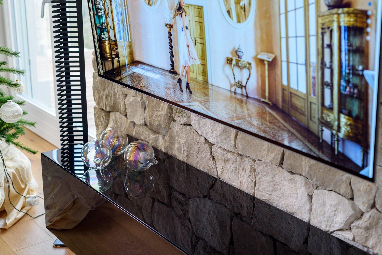 Mobile soggiorno sospeso in legno vetro e acciaio sprea for Mobile soggiorno vetro